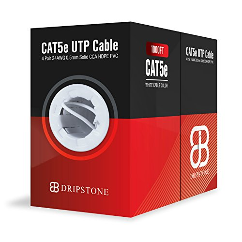 Dripstone CAT5e 1000ft UTP Ethernet Cable 24AWG Bulk LAN Network Wire (White) (Category Wire 5)