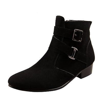 f07926abc202 Chickle Men s Black Cuban Heel Zipper Ankle Boots 5.5