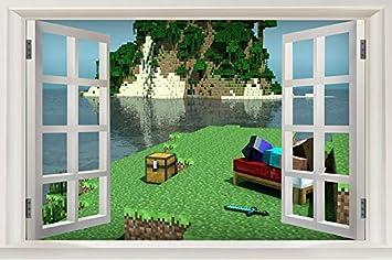 Buy Generic Custom Canvas Wall Murals Window Minecraft