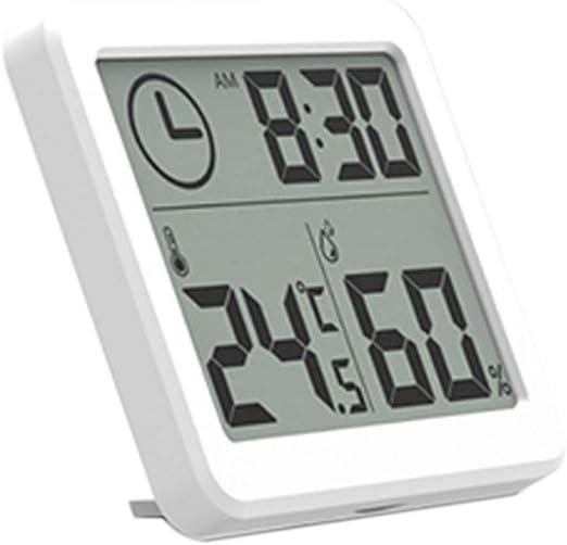 Reloj digital de escritorio, funciona con pilas, termómetro digital, higrómetro, pantalla LCD con reloj despertador, fácil de leer: Amazon.es: Hogar
