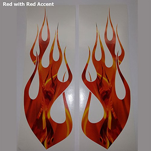 Wild Dingos LLC Flame in Flame Duo Decal Kit Golf Cart, ATV, RC Truck, Car Motorcycle, Helmet (Red with Red Accent)