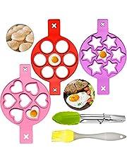 5-pack återanvändbara silikonäggringar, non-stick stekt äggringar pannkaksform med borste och klämma för DIY ägg eller cupcake