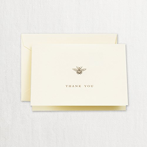 - Crane Set of 10 Engraved Ecru Bumble Bee Thank You Note