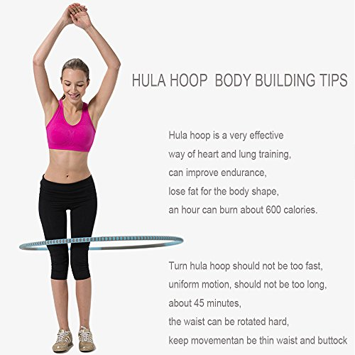"""Fun&Life - Professional Weighted Hula Hoop 2 lbs (Dia.41"""") for Fitness, Workout for Adults and Kids, Exercise, Weight Loss, Metal Construction, High Density Eco-friendly Foam Padded"""