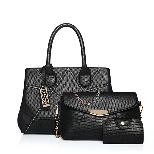Gwqgz New Fashion Single Shoulder Bag Skewing Package Includes Three Black Pieces Black