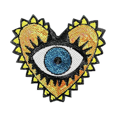 1 Pcs Love Large Sequin Heart Evil Eyes Patches No Glue Cartoon Motif Applique Embroidery Garment Patch Sewing on for Clothes Kids T Shirt Jeans DIY Crafts (Color 1)