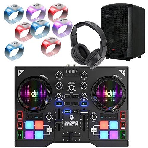 Complete Beginner DJ Package w/DJ Controller, Headphones, Speaker, and 8 light wristbands