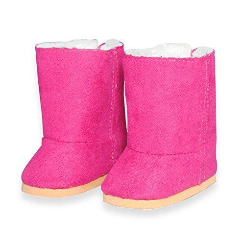 Pink Butterfly Closet Doll Shoes-Snow Pink Boots Shoes Fits American Girl Dolls, My Life Doll, Our Generation and Other