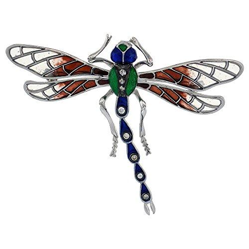 i Color Enamel Dragonfly Brooch, 2 5/16 in. (59mm) wide ()
