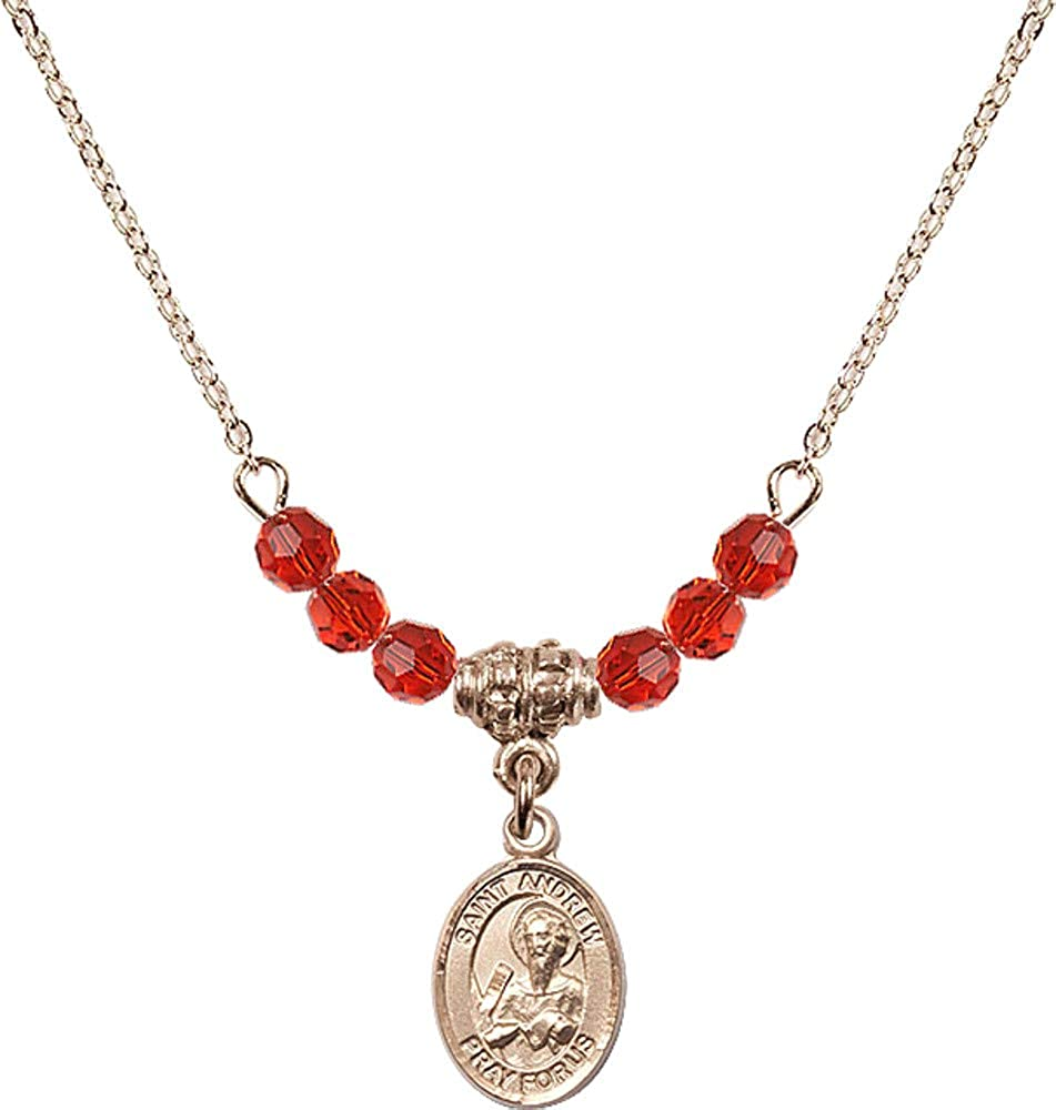 Bonyak Jewelry 18 Inch Hamilton Gold Plated Necklace w// 4mm Red July Birth Month Stone Beads and Saint Andrew The Apostle