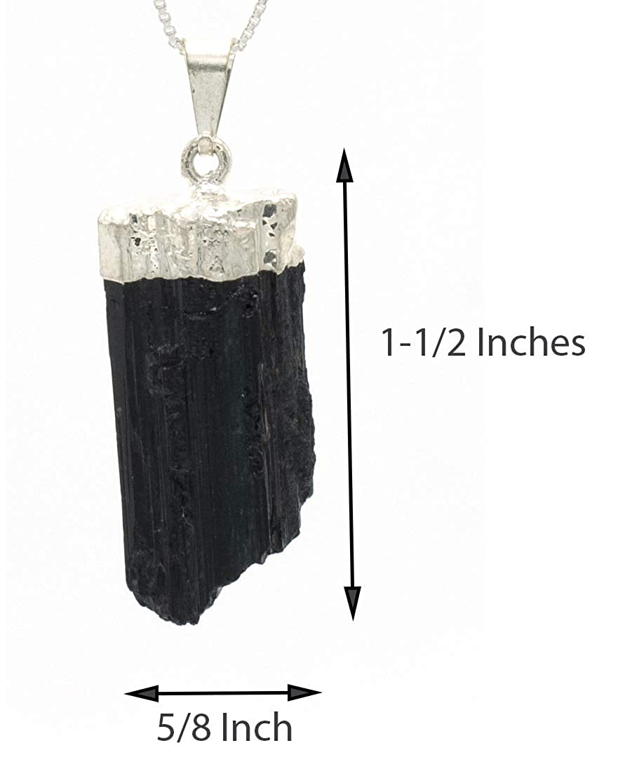 18 Raw Black Tourmaline Protection Pendant Necklace on Sterling Silver Box Chain