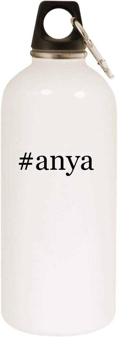 #anya - 20oz Hashtag Stainless Steel White Water Bottle with Carabiner, White