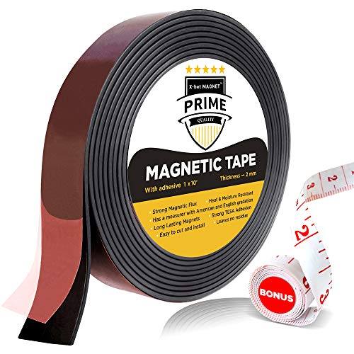 Flexible Magnetic Tape - 1 Inch x 10 Feet Magnetic Strip with Strong Self Adhesive - Ideal Magnetic Roll for Craft and DIY Projects - Sticky Magnets for Fridge and ()