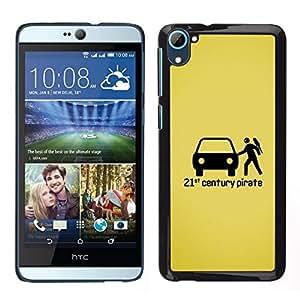 Caucho caso de Shell duro de la cubierta de accesorios de protección BY RAYDREAMMM - HTC Desire D826 - Pirata Estatuilla Arte Negro