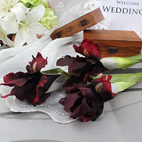 3Pcs Dark Red Iris Artificial Flowers Home Decoration Party Supplies Bouquet Real Touch Flowers for Home Wedding Decorative Flowers Wedding Decoration Weddings Artificial Decorations Real ()