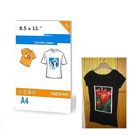 30 hojas de transferencia de calor por sublimación, papel imprimible, transferencia de calor, planchar sobre camiseta oscura, transferencia de hojas mate, tamaño 21,6 x 28 cm: Amazon.es: Juguetes y juegos
