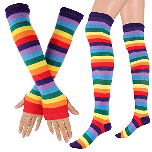 Womens Extra Long Striped Socks(Over Knee High Opaque