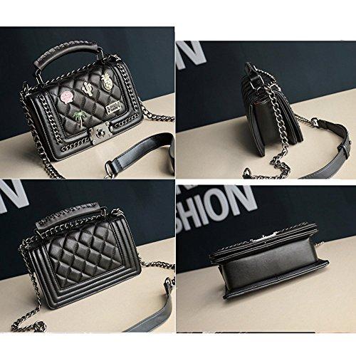OL Bag Shoulder Career Messenger 2018 Bag Chain Women Fashion Bag Cross Badges Bag Body Handbag Evening Leather Rivets Plane BzBwIFxn7