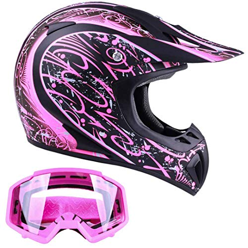 (Typhoon Women's Dirt Bike Helmet and Goggles ATV Motocross Off Road, Matte Pink w/Pink (Small) )