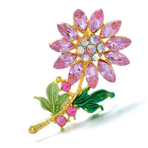 AILUOR Gold Plated Full Inlay Crystal Sunflower Brooch and Pin, Gorgeous Fashion Rhinestone Floral Lapel Pin for Women Girl Bridal Wedding Corsage Clothing Scarf Art Decor Jewelry (Pink) (Brooch Sunflower Crystal)