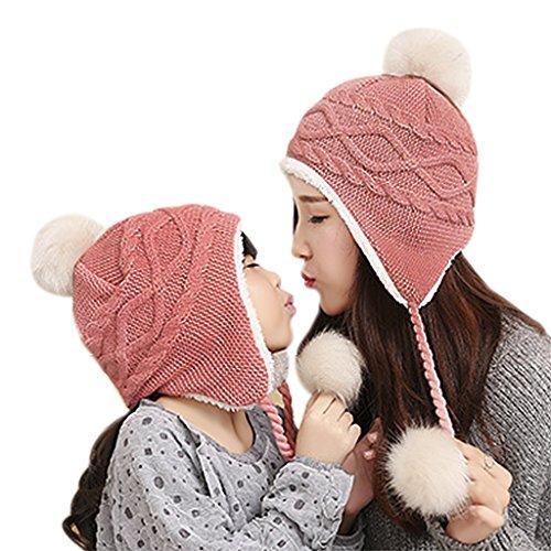 Unisex Children Toddler Baby Winter Wool Crochet Knit Earflap Hat Thick Sherpa Fleece Lined Warm Beanie Skull Cap Trapper Ski Hat with Fur Ball Pom Pom Earflap Hood Hat Xmas Gift for Kids Boys Girls (Wool Beanie Earflap)