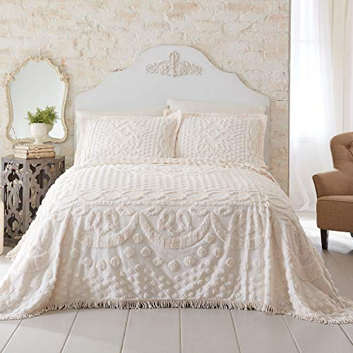 BrylaneHome Georgia Chenille Bedspread - Ivory, Queen (Chenille Bedding Queen)
