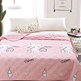 KFZ Quilt Comforter Cotton Bedspread for Bedding Set Breathable Ultrasound Quilted quilt HDD twin Full Queen Popular Cartoon Design for Adults Kids Baby 1pc (Milk Cat, Pink, Full, 71''x86'')