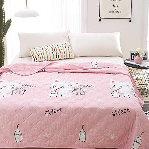 KFZ Quilt Comforter Cotton Bedspread for Bedding Set Breathable Ultrasound Quilted Quilt HDD Twin Full Queen Popular Cartoon Design for Adults Kids Baby 1pc (Milk Cat, Pink, Twin, 59''x79'')