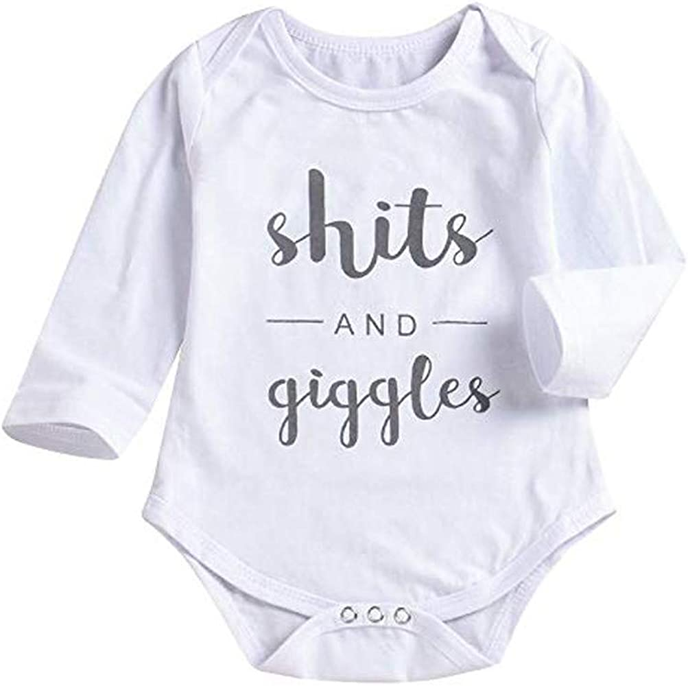Winsummer Newborn Baby Boy Girls Shits and Giggles Romper Infant Toddler White Jumpsuit Cotton Bodysuit T Shirts