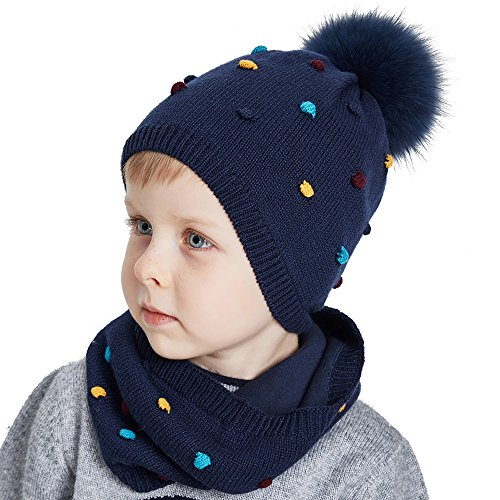 Toddler Hat and Scarf Set Unisex Childrens Winter Beanie For Kids Cute Wool Hat Fancy Wool Scarves