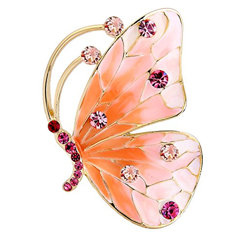 Austrian Crystal Butterfly Pin (EVER FAITH Austrian Crystal Enamel Cute Butterfly Insect Brooch Pin Pink Gold-Tone)