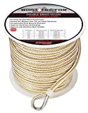 Extreme Max 3006.2347 BoatTector Double Braid Nylon Anchor Line with Thimble - 3/8 x 600', White & Gold