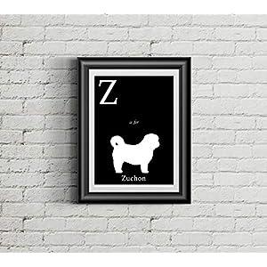 Alphabet Art Print - dog art print - Z is for Zuchon Art Print - Modern Home Decor - dog silhouette art print 2