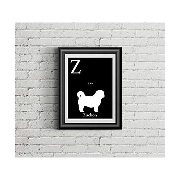 Alphabet Art Print - dog art print - Z is for Zuchon Art Print - Modern Home Decor - dog silhouette art print 1