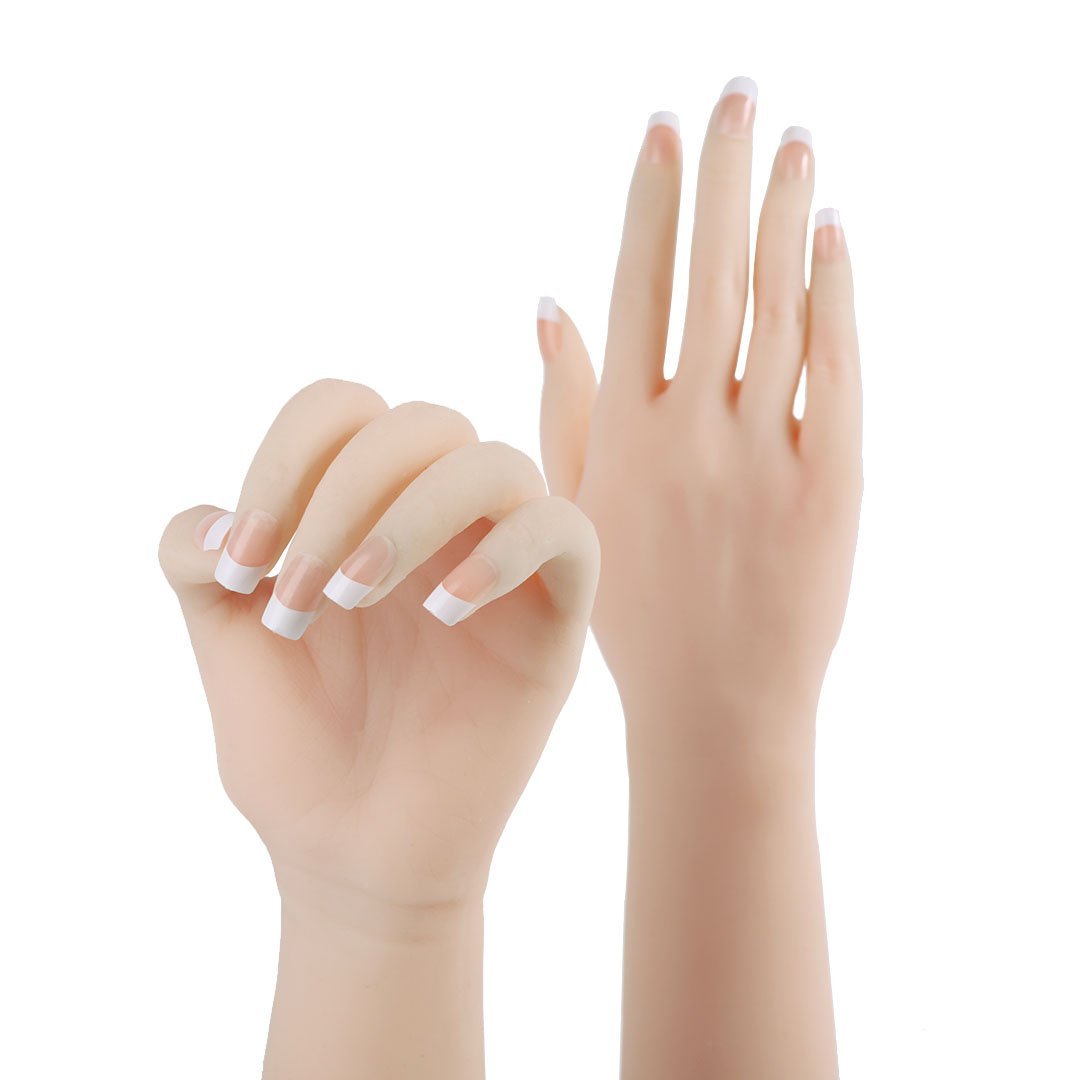 Realistic Silicone Female Hand as Nail Art Practice Mannequin Jewelery Glove Displays Model 1-Pair