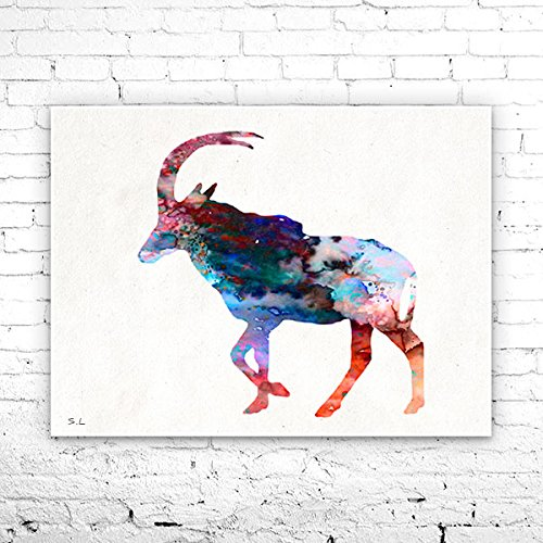 Antelope Watercolor Print, Fine Art Print, Children's Wall, Art Home Decor, animal watercolor, watercolor painting, Antelope watercolor