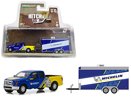 StarSun Depot 2016 Ford F-150 Michelin Tires Enclosed Car Trailer Michelin Tires Racing Hitch & Tow Series 13 1/64 Diecast Model Car Greenlight