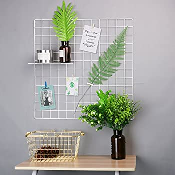 """Hosal Multifunction Grid Panel,Wall Decor/ Sculptural Frames & Holders / Wall Display/ Organizer, Pack of 2 Pcs,Industrial Style,Size:23.6"""" x 23.6"""", Pack of 2 Pcs,White"""