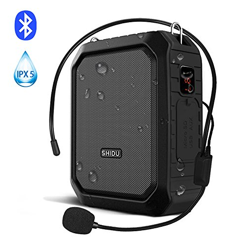 Bluetooth Voice Amplifier,SHIDU Personal Voice Amplifier 18W with Wired Microphone Headset Portable Waterproof Bluetooth Speaker Rechargeable PA System Power Bank for Outdoors,Teachers,Shower,Beach by SH1DU