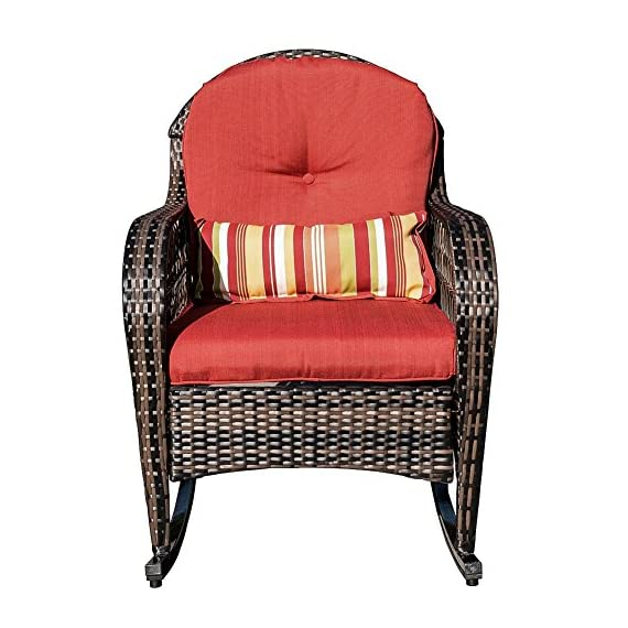 Sundale Outdoor Wicker Rocking Chair Rattan Outdoor Patio Yard Furniture All- Weather with Cushions (Red) - Tools provided, Fabric: stain-resistant, water-repellant and treated 280g Olefin cushions and Polyester pillows All-weather wicker - unlike natural wicker, all weather wicker is stain, water, crack and split resistant. Double flat wicker weave for added comfort and durability. - patio-furniture, patio-chairs, patio - 519zUWKUwhL. SS570  -