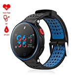 "Padcod Bluetooth Smart watch,1.04"" Color Screen IP68 Waterproof Multi Sporting Modes Pedometer, Alarm Clock,Blood Oxygen/Blood Pressure/Sleep/Heart Rate Monitoring (Blue)"