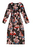 Winwinus Women's Floral Spring Chinese Qipao O-Neck Trapeze Dress Black XS