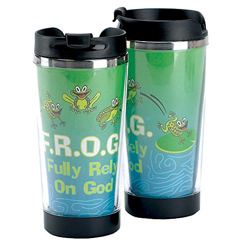 (FROG Fully Rely on God Blue 9.5 Oz. Stainless Steel Travel Mug with Black Snap)