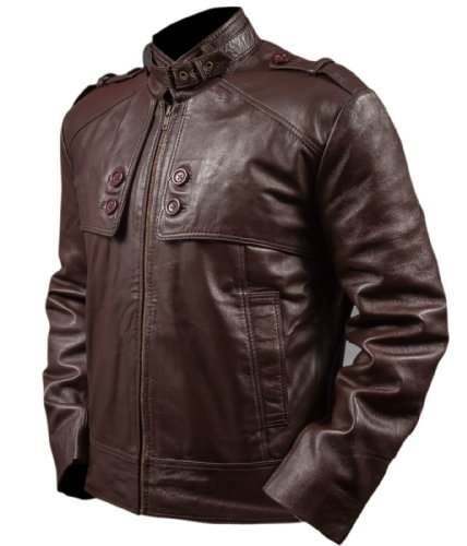 Leatherly Veste Homme Men's Slim fit Cuir Veste Marron