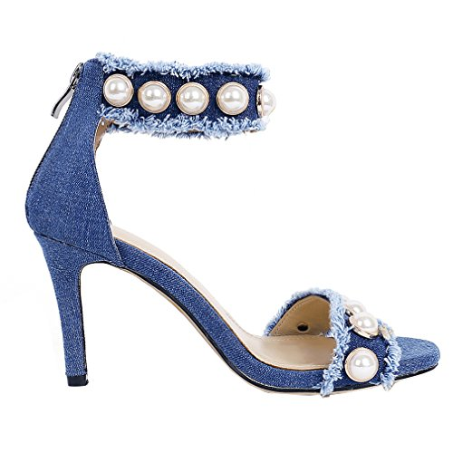 Scarpe Da Donna In Denim Con Tacco Alto Per Donna, Decorazione Perline, Sandali Stiletto Casual Blu Scuro
