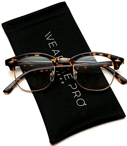 Vintage Inspired Classic Half Frame Horn Rimmed Clear Lens Glasses Optical ()