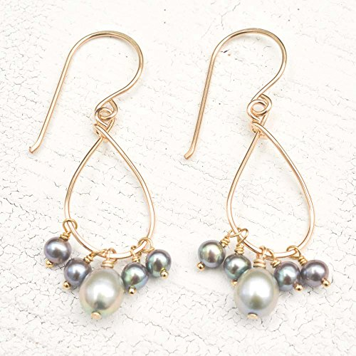 Shaped Cultured Pearl (Gray cultured freshwater pearl earrings dangle 14kt)