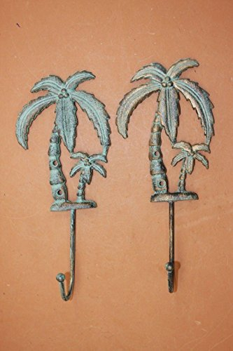 Lanai Bath Decor Tropical Palm Tree Bath Hook Cast Iron Bronze-look, 9 1/2