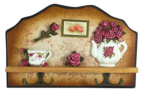 Heartful Home Wall Decor Decorative Plaque with Key Hooks - #1 Wedding, Home, or Housewarming Gift! - Hook Rack & Keychain Holder for Kitchens & Entryway - Chef, Vintage, Rose, or Lemon (Rose Tea Set) (Ideas Plaque Wedding)