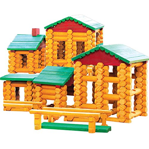 Smart Builder Master Cabin Log Set, Includes 400 Pieces of Interlocking Wood Logs
